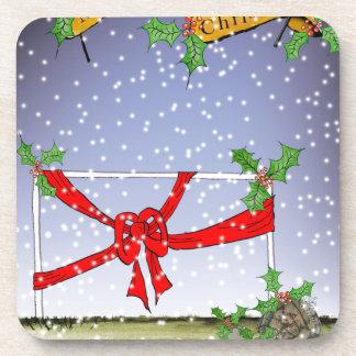 happy christmas football fans coaster
