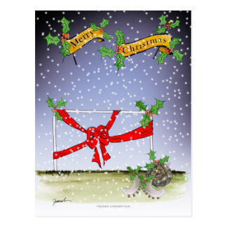 happy christmas football fans postcard