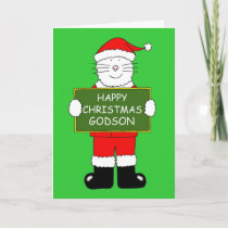 Happy Christmas Godson Cartoon Cat in Santa Outfit Card