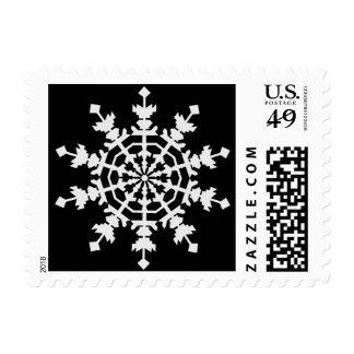 Happy Christmas - Ice Crystal - Snow Flake Postage
