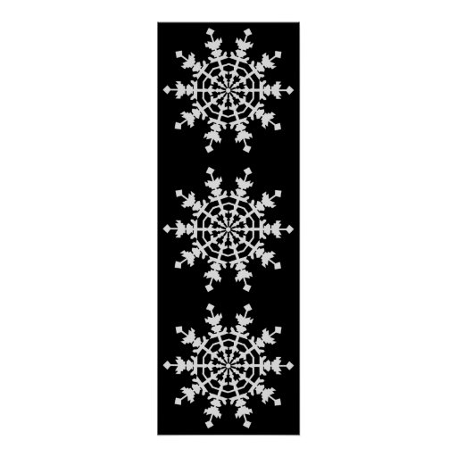 Happy Christmas - Ice Crystal - Snow Flake Posters