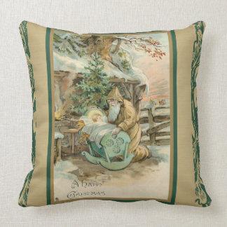 Happy Christmas Jesus Santa Claus Manger Throw Pillow