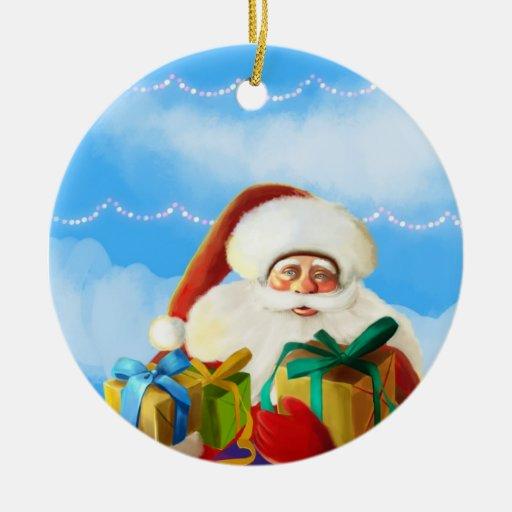 Happy Christmas, Jolly Santa Claus Ornaments