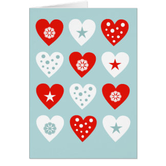 Happy Christmas Love Hearts Blue Greeting Card