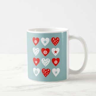 Happy Christmas Love Hearts Blue Mug