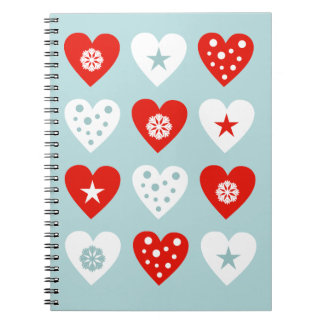 Happy Christmas Love Hearts Blue Notebook