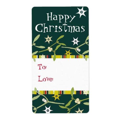 Happy Christmas mistletoe gift tag green (to/love) Custom Shipping Label