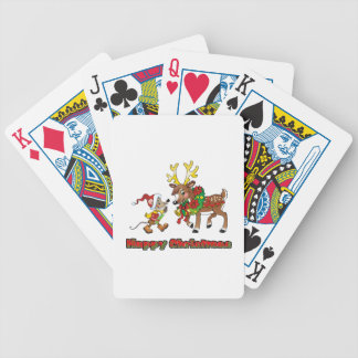 Happy Christmas Mouse and Deer Bicycle Poker Deck