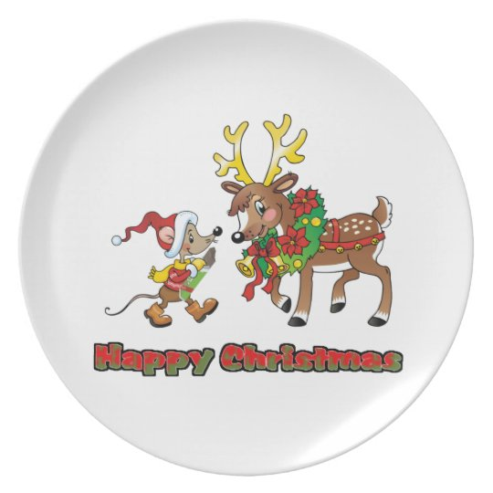 Happy Christmas Mouse and Deer Dinner Plate