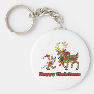 Happy Christmas Mouse and Deer Keychain