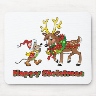 Happy Christmas Mouse and Deer Mouse Pad