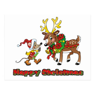 Happy Christmas Mouse and Deer Postcard
