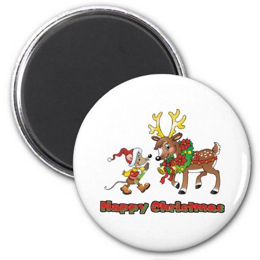 Happy Christmas Mouse and Deer Refrigerator Magnet