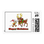 Happy Christmas Mouse and Deer Stamps