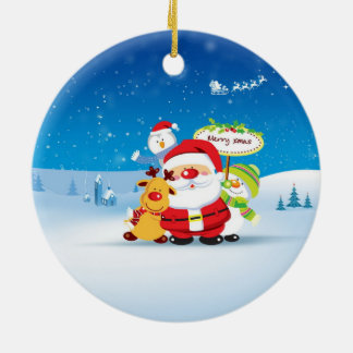 HAPPY CHRISTMAS Double-Sided CERAMIC ROUND CHRISTMAS ORNAMENT