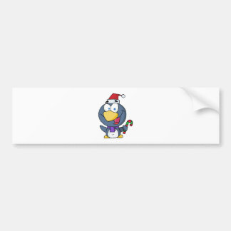 Happy Christmas Penguin Holding A Candy Cane Bumper Sticker