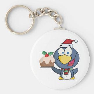 Happy Christmas Penguin Holding Christmas Pudding Keychain
