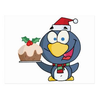 Happy Christmas Penguin Holding Christmas Pudding Postcard