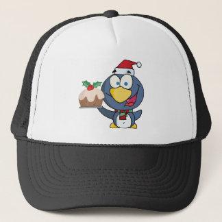 Happy Christmas Penguin Holding Christmas Pudding Trucker Hat