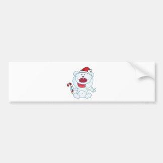 Happy Christmas Polar Bear Holding A Candy Cane Bumper Sticker