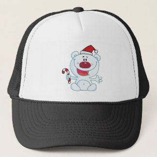 Happy Christmas Polar Bear Holding A Candy Cane Trucker Hat