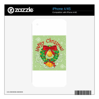 Happy Christmas poster with bell Decals For The iPhone 4