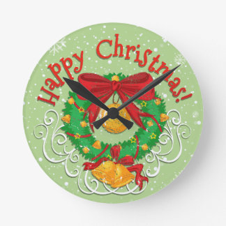 Happy Christmas poster with bell Round Clock