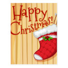 Happy Christmas poster with sock Postcard
