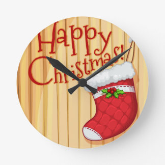 Happy Christmas poster with sock Round Clock