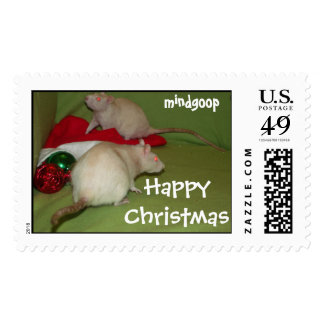 happy christmas rats postage stamps