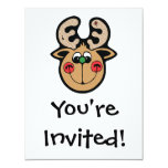 happy christmas reindeer 4.25x5.5 paper invitation card