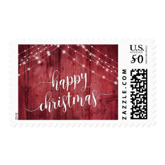 Happy Christmas Rustic Red Wood with White Lights Postage