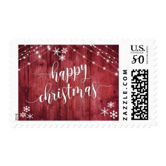 Happy Christmas Rustic Wood w/ Snowflakes & Lights Postage