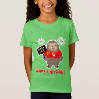 Happy Christmas Santa Stop Whimsy Cartoon Sloth T-Shirt