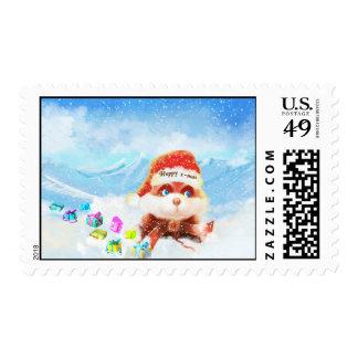 Happy Christmas Snow  bunny Postage