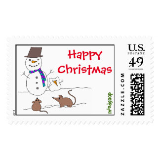 happy christmas snow rats postage stamps