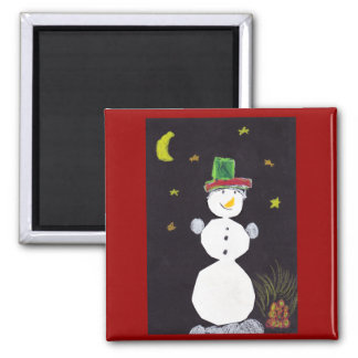 Happy Christmas Snowman in Hat At Night Magnet