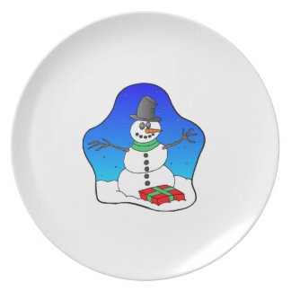 Happy Christmas Snowman Party Plate