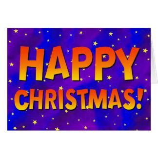 Happy Christmas Stars Greeting Card