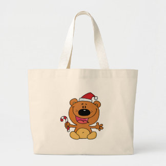 Happy Christmas Teddy Bear Holding A Candy Cane Tote Bag