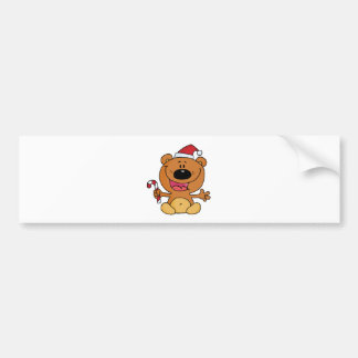 Happy Christmas Teddy Bear Holding A Candy Cane Bumper Sticker