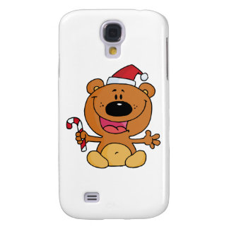 Happy Christmas Teddy Bear Holding A Candy Cane Galaxy S4 Covers