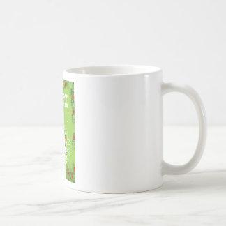 Happy christmas theme with elf and present coffee mug