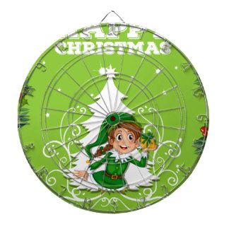 Happy christmas theme with elf and present dartboard with darts