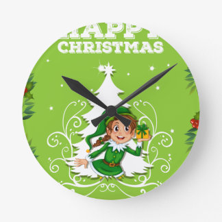 Happy christmas theme with elf and present round clock