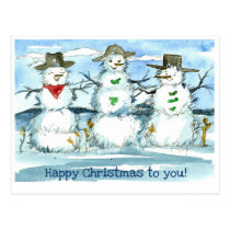 Happy Christmas To You Tumbleweed Snowmen Postcard