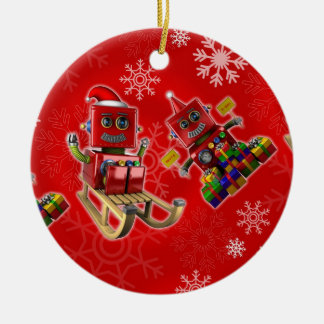 Happy christmas toy robot ceramic ornament