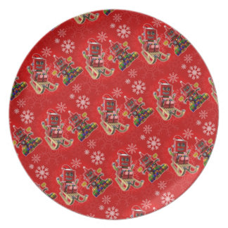 Happy christmas toy robot dinner plate
