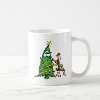 Happy Christmas Tree and Decorating Elf Coffee Mug