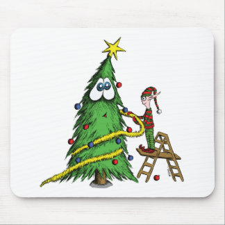 Happy Christmas Tree and Decorating Elf Mouse Pad
